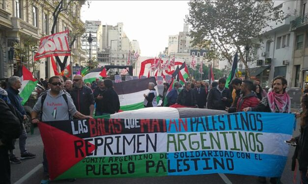 Movilización en Cancillería para apoyar al pueblo palestino
