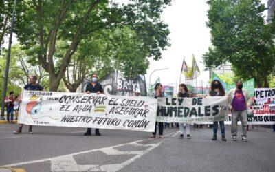 Colectivos ecologistas se manifestaron en La Plata bajo el lema ''Basta de destrucción ambiental''
